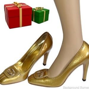 GUCCI GG Gold Logo High Heel Shoes Pumps with DB